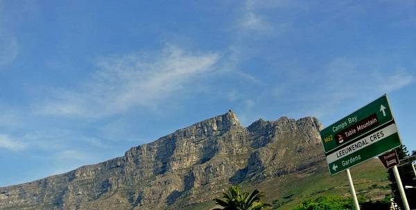 Table Mountain from the bus - you can just see the cable station at the top!