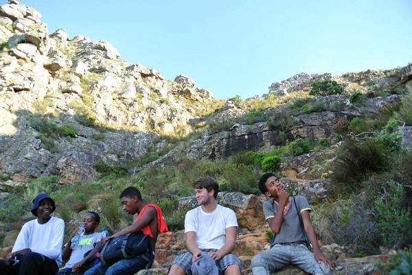 Phila, Yamkela, Kiyaam, Will and Frankie, resting and rehydrating in the shade