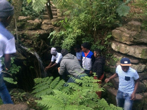 Drinking the fresh water from Table Mountain